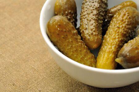 pickles in white bowl