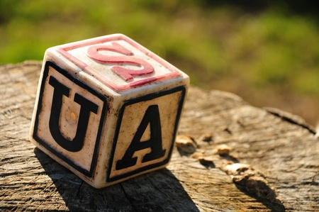 cube with letter usa on the stump Stock Photo