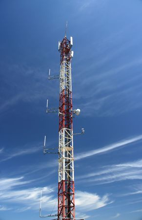 communication antenna in a blue sky