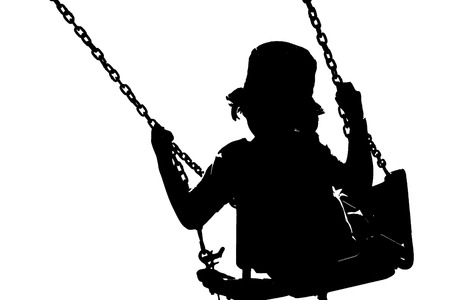 silhouette of little girl swinging in white isolated background