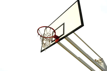old basketball net isolated in white background photo