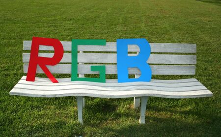 rgb: RGB letters in the garden bank