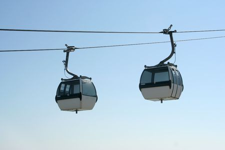 two cableway in Nation Park, in Lisbon, Portugal Stock Photo
