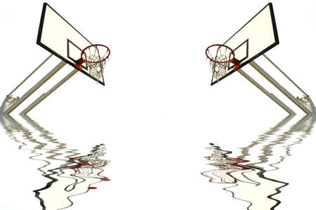 two basketball net and reflection in water isolated in white photo