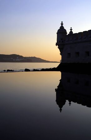 sillhouette of a detail from the Belem Tower in Lisbon, Portugal (nightscape) Editorial