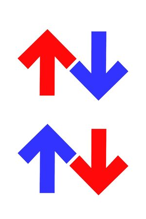 shinning: direction arrows blue - up and red - down