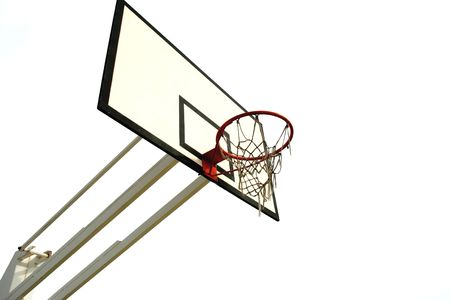 old basketball net isolated in white background - left side of the image photo