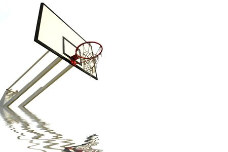 old basketball net and reflection isolated in white (left side)