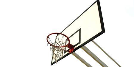 old basketball net isolated in white background - rectangular size photo