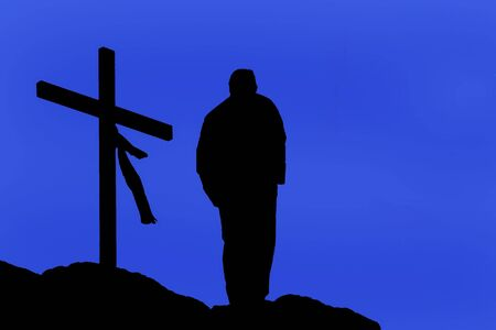 man praying in mountain near a cross - religious places - illustration