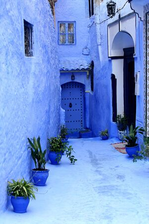 detail from typical street in chefchaouen, in north of morocco