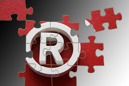 incomplete: R Registered trademark - puzzle incomplete - illustration in gray background