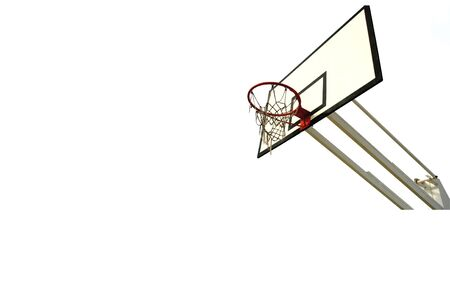 old basketball net and reflection isolated in white (left side) photo