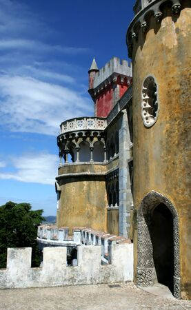 pena: tower of pena palace in sintra - portugal