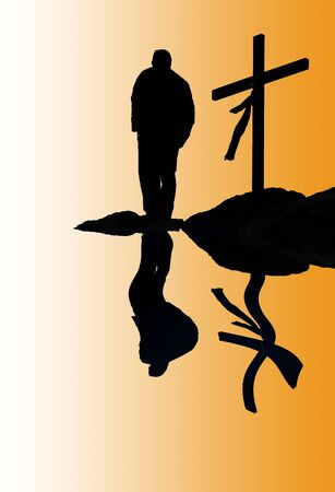 silhouette of man and cross and reflection in water - illustration Stock Photo