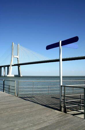 Vasco da Gama bridge in Lisbon, near river tagus, portugal photo