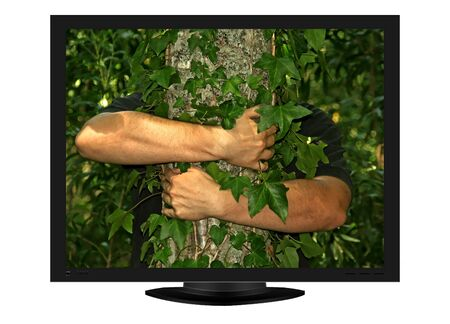 plasma tv with image of strongs arms of man hugging a tree - illustration illustration