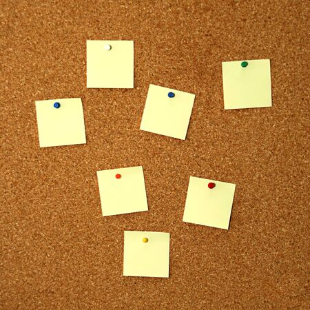 square cork board with seven empty yellow notes Stock Photo - 3800875