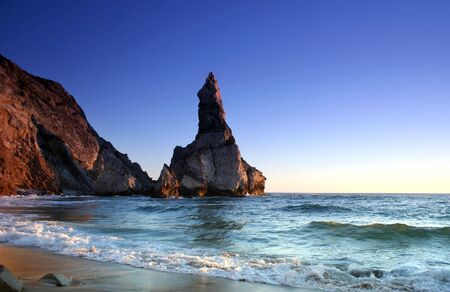 roca: magic sunset in ursa beach near cape roca in portuguese coastline