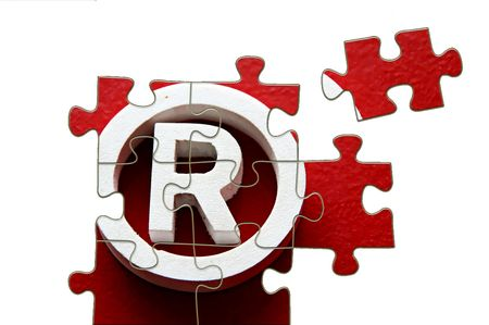 trademark: R Registered trademark - puzzle incomplete - illustration