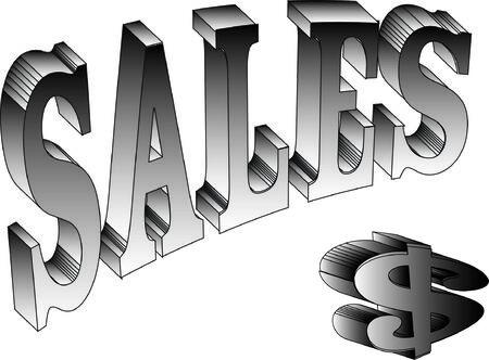 dolar: Vector 3D ventas y s�mbolo de dolar ilustraci�n