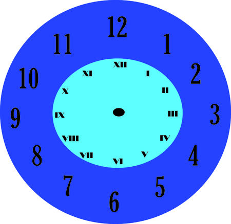 vector illustration of clock only with numbers Vector