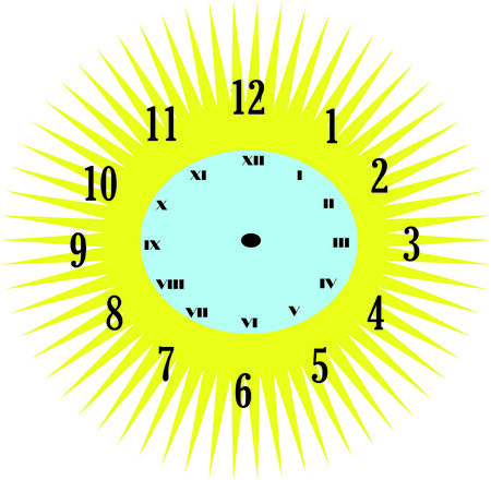 timekeeper: vector illustration of sun clock only with numbers Illustration