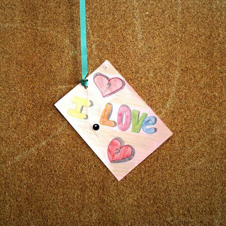 valentine card in cork board Stock Photo - 3924204