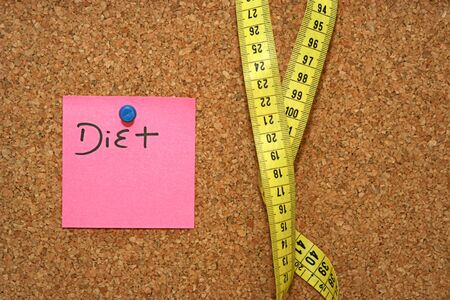 metric: Diet note and metric tape in cork board