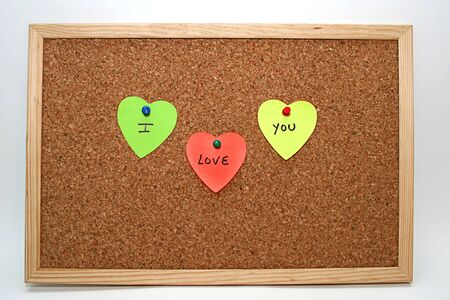 three heart notes with  Stock Photo - 4032094