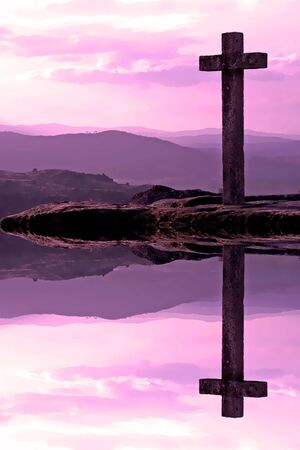 stone cross and reflection - violet sunset - illustration