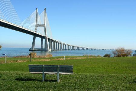 Vasco Gama bridge in Lisbon (portugal) beautiful place and view photo