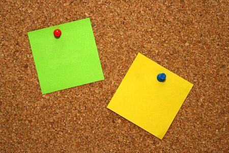 green and yellow note in cork board Stock Photo - 4350982