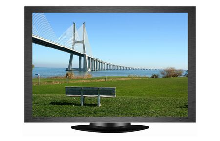 Plasma TV with image of Vasco Gama bridge in Lisbon (portugal) photo