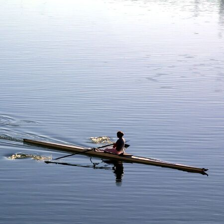 girl in rowboat in the river in a moment of pause Stock Photo - 4448954