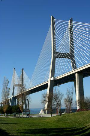 Vasco Gama bridge in Lisbon, Portugal photo