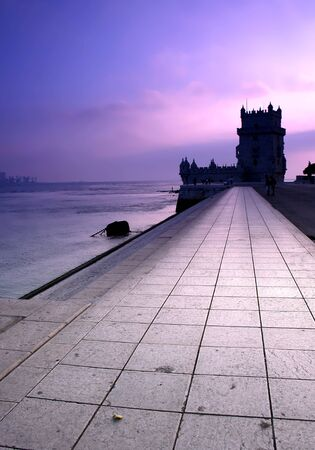 tower of Belem at sunset - postcard from lisbon portugal