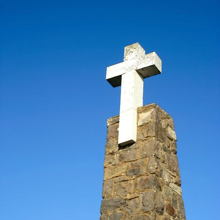 white cross, in cape of Roca - Cabo  Roca - the western point of Europe Stock Photo