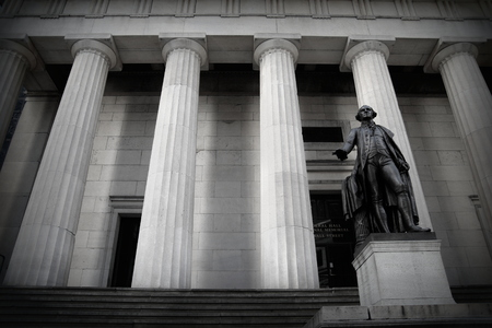 George Washington Statue in front of Federal Hall, Wall Street, New York.