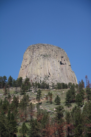Devils tower in the perfect blue sky, Wyoming.