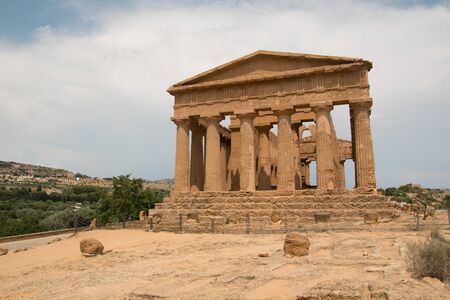 the facade of the Temple of Concordia, Temples Valley, Agrigento, Sicily.