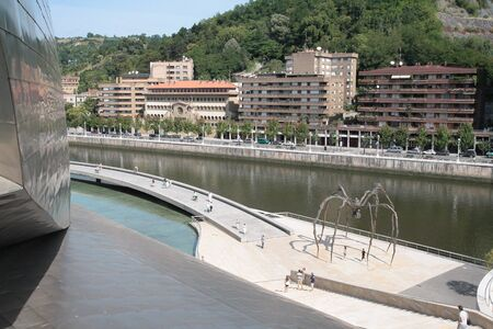 Overlook of the spider sculpture maman from Bourgeois artist in Bilbao, Spain