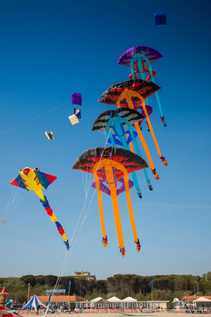 colorful manta kites in the sky at Cervia international kite festival