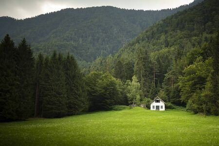 Green mountain summer landscape with an isolated white cabin or barn in the distance across the meadow. Solitude and tranquility background or wallpaper with left copy space.