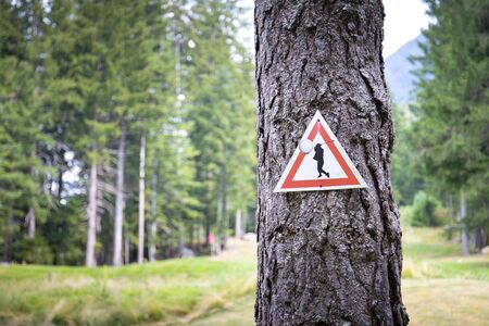 Golf course warning sign on a tree trunk with forest background. wallpaper with copy space.