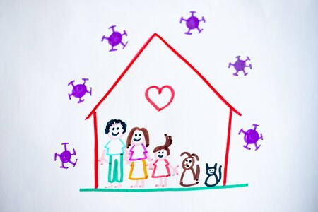Isolated child's drawing, representing she and her family and pets happy at home during covid-19 lockdown for coronavirus pandemic, with viruses outside of their house.
