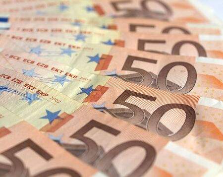 Range of 50 Euro banknotes useful as a background photo