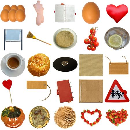 Collage of many objects isolated photo