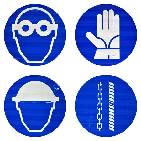 Protective wear and safety at work signs Stock Photo - 5914203
