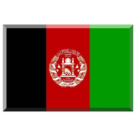 afghanistan': Flag of Afghanistan with 3D border